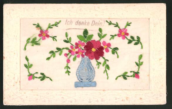 Seidenstick-AK Rote Blumen in einer blauen Vase