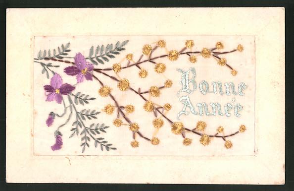 Seidenstick-AK Bonne Année, Neujahrsgruss mit blühenden Zweigen