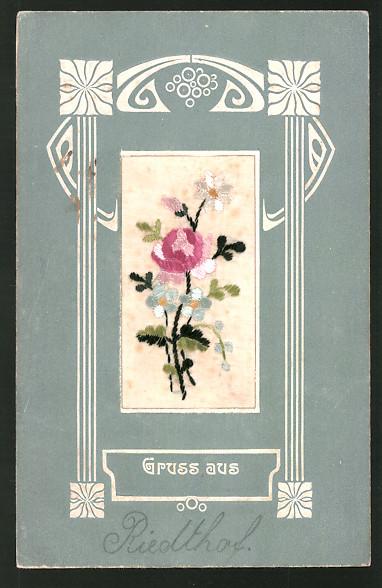 Seidenstick-AK Bunter Blumenstrauss mit Rosen und Vergissmeinnicht