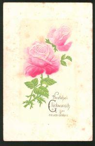 Präge-Airbrush-AK Neujahrsgruss mit roten Rosen
