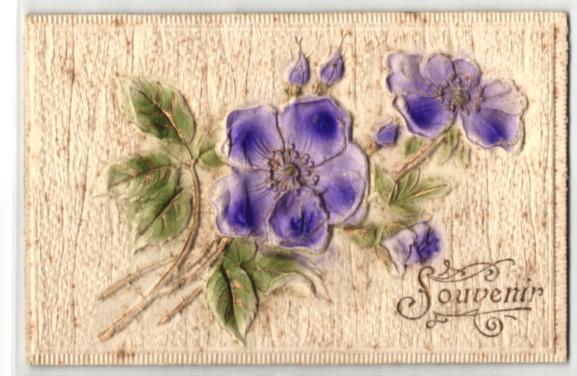 Präge-Airbrush-AK Souvenir, Violette Blumen mit Blattwerk