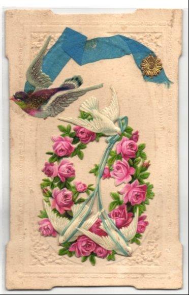 Oblaten-AK Weisse Tauben mit blauem Band und Rosenkranz