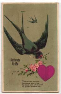 Duft-AK Schwalbe mit Rosenzweig und Herz aus Stoff