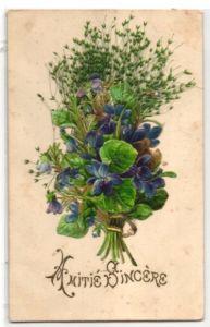 Trockenblumen-AK Aufgeklebte Veilchen und echte Gräser