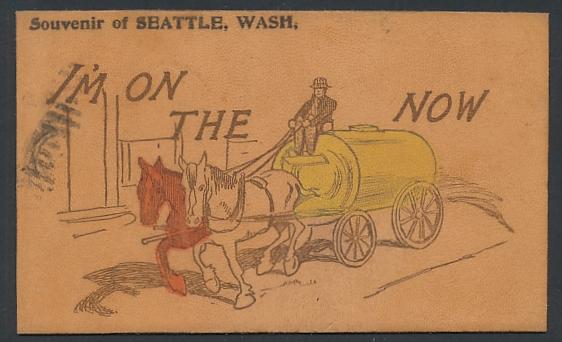 Leder-AK Seattle, Wash., I`m on the now, Strassenreinigung per Sprinklerwagen