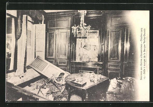 AK Greves, Salle a manger de la Banque Verley-Decroix, octobre 1903