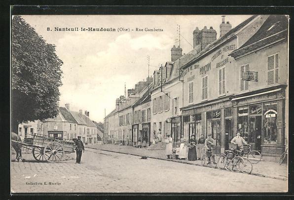 AK Nanteuil-le-Haudouin, Boutiques dans la Rue Gambetta