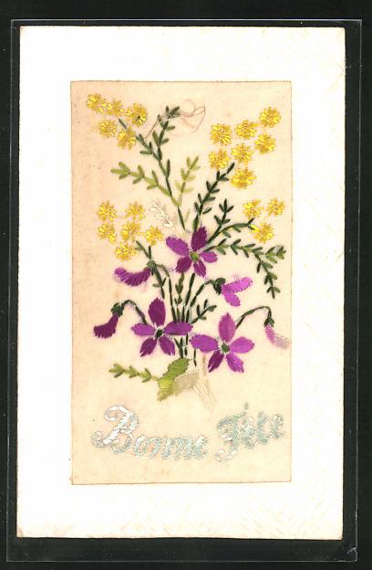 Seidenstick-AK Bonne Fete, Blumenstrauss mit Veilchen