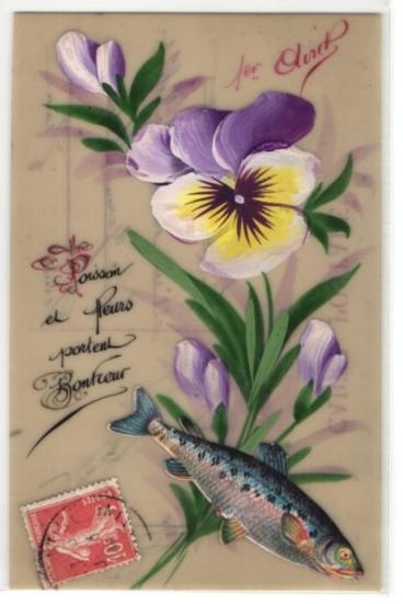 Zelluloid-AK 1er Avril, Stiefmütterchen und aufgeklebter Fisch