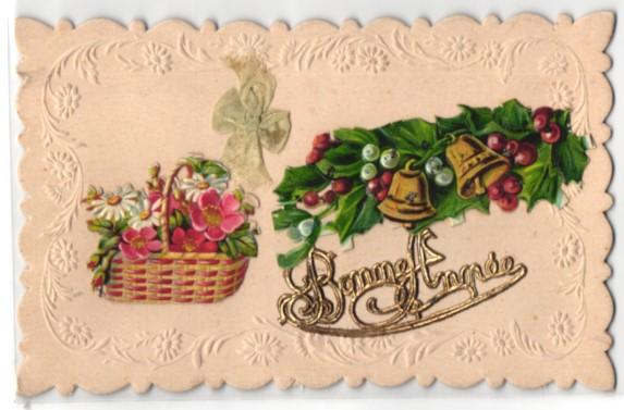 Oblaten-AK Bonne Annee, Goldene Schrift und Weihnachtskranz mit Glocken