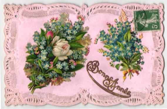 Oblaten-AK Aufgeklebte Blumensträusse mit Vergissmeinnicht