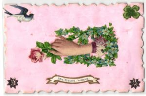 Oblaten-AK Meilleurs voeux, Damenhand mit Rosenblüte