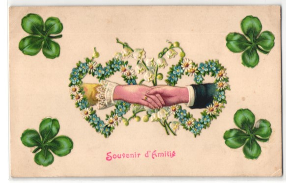 Oblaten-AK Händedruck eines Liebespaares im Blumenherz mit Kleeblättern