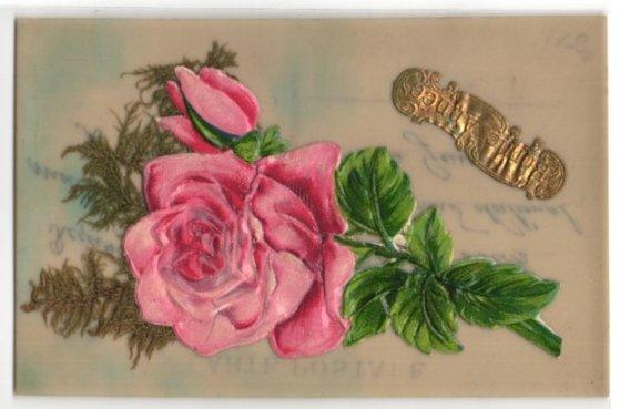 Oblaten-Zelluloid-AK Bonne Annee, Rosenblüte mit Ziergras