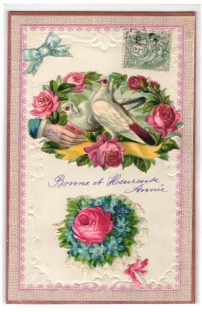 Oblaten-AK Weisse Tauben und Rosen