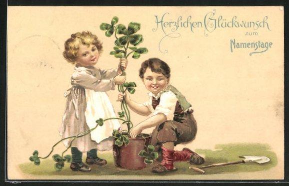 AK Gärtnerjunge mit Mädchen und Klee, Glückwunsch zum Namenstag