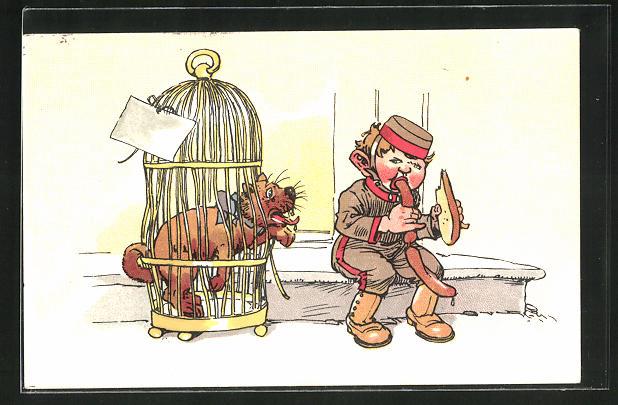 AK Page mit Wurst und Hund im Käfig
