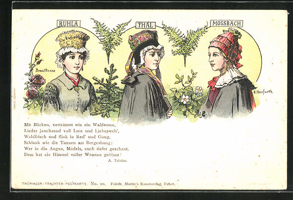 Künstler-AK Oskar Herrfurth: Brautkronen aus Ruhla, Thal, Mossbach