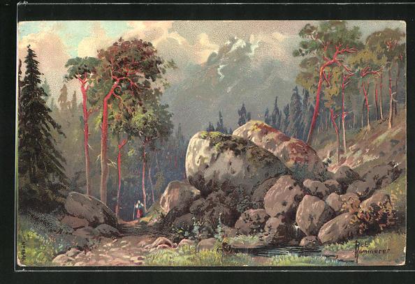 Künstler-AK Robert Kämmerer: Waldpartie mit Felsen