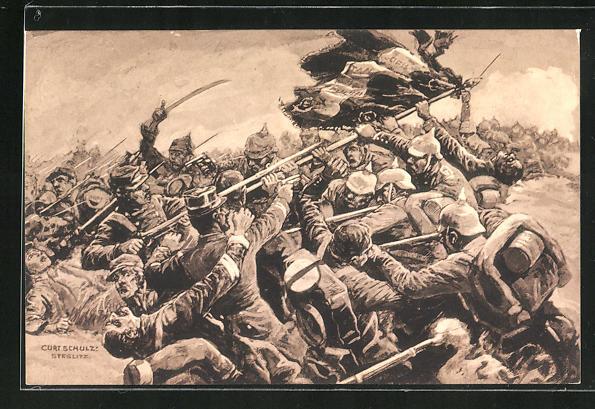 Künstler-AK Curt Schulz-Steglitz: Luneville, Erobergung der französischen Fahne, Der grosse Krieg 1914 /1915