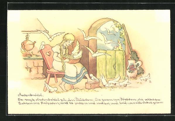 Künstler-AK Liesel Lauterborn: Aschenputtel füttert die Tauben