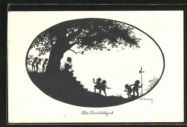 Künstler-AK Elsbeth Forck: Schattenbild der Tunichtgut