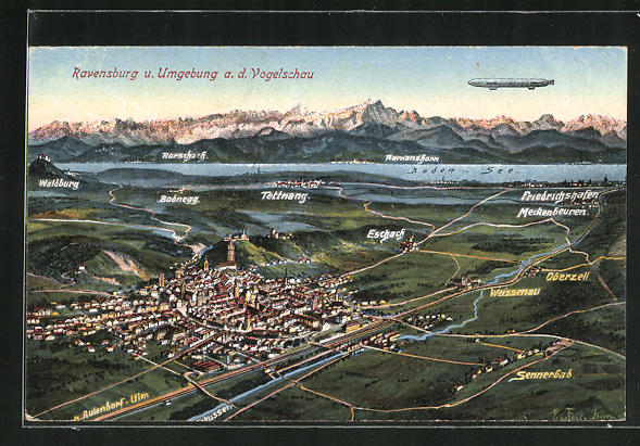AK Ravensburg, Ortsansicht aus der Vogelschau und Zeppelin in der Luft
