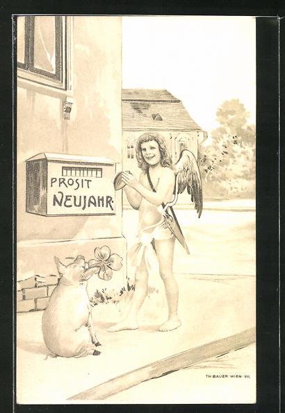 Lithographie Neujahrsengel und Glücksschwein vor einem Briefkasten mit Aufschrift Prosit Neujahr