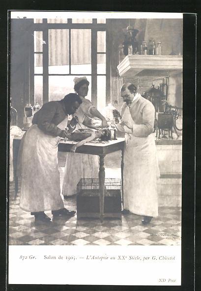 Künstler-AK Salon de 1905, L`Autopsie au XX. Siècle, par G. Chicotot