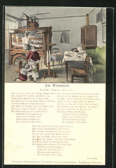 AK Lied Am Webstuhl, Teppich-Weber bei der Heimarbeit