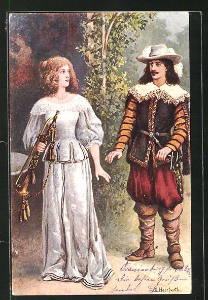 Künstler-AK Oskar Herrfurth: Schöne Frau mit Instrument eines Trompeters