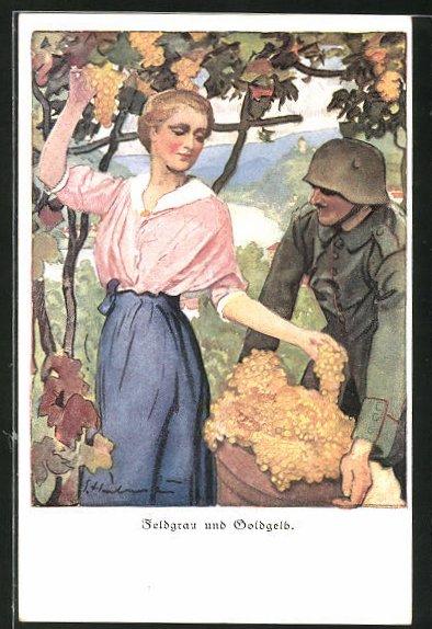 Künstler-AK Ernst Heilemann: Feldgrau und Goldgelb, Soldat hilft bei der Weinlese