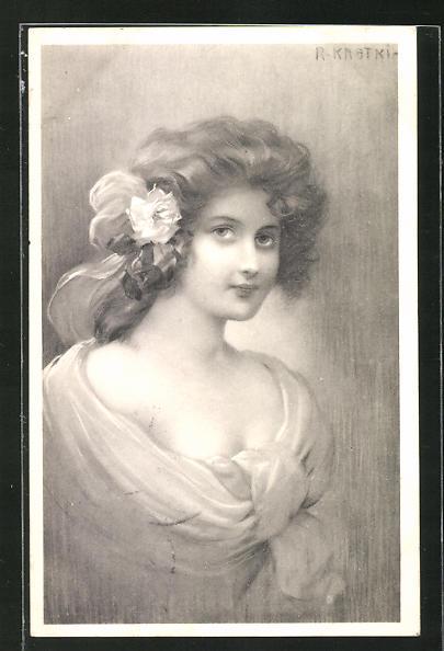 Künstler-AK R. Kratky: junge Dame mit Rose im Haar