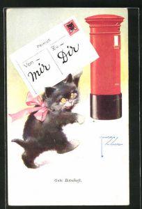 Künstler-AK Lawson Wood: Gute Botschaft, Katze mit Postkarte, Briefkasten