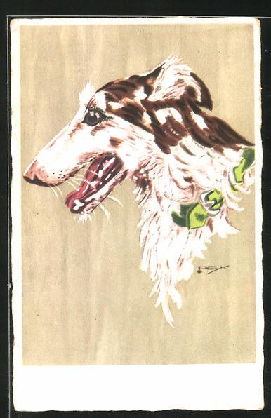 Künstler-AK Hilla Peyk: Unsere Lieblinge, Windhund