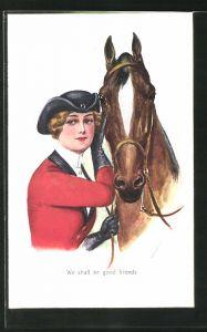 Künstler-AK Mary Horsfall: We shall be good friends, Reiterin und Pferd
