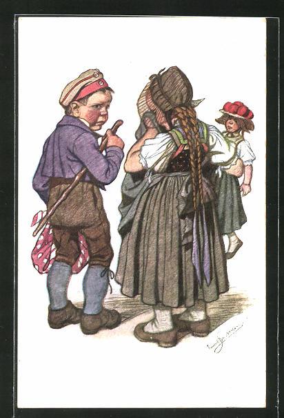Künstler-AK Emil Beithan: Schwarzwald-Trachten, Bub und Mädchen mit Puppe