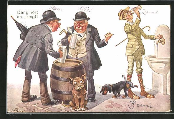 Künstler-AK Ernst Schlemo: Herr am Wasserhahn mit Dackel und Herren am Biertisch