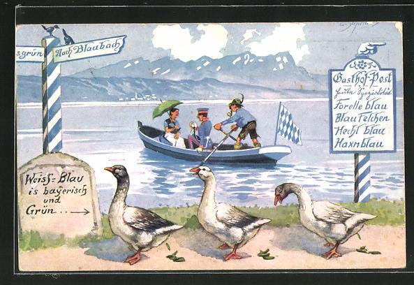 Künstler-AK Ernst Schlemo: Enten am Ufer und Soldat in Uniform im Boot