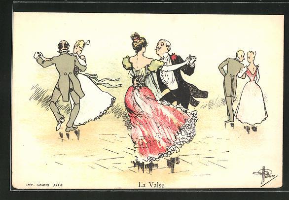 Künstler-AK Albert Guillaume: La Valse, Damen und Herren beim Tanz