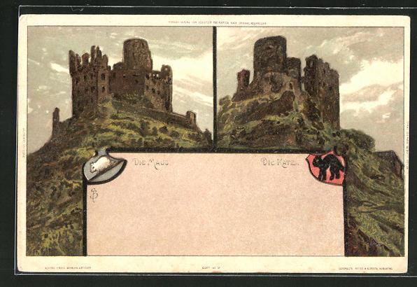 Künstler-AK Carl Biese: Burgen, die Maus und die Katze