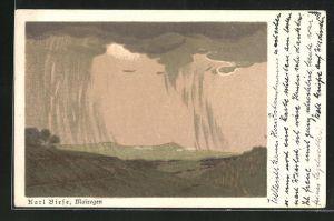 Künstler-AK Carl Biese: Mairegen, Landschaft mit Bergen