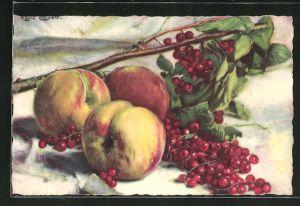 Künstler-AK Carlo Chiostri: Stillleben mit Pfirsichen und Beeren