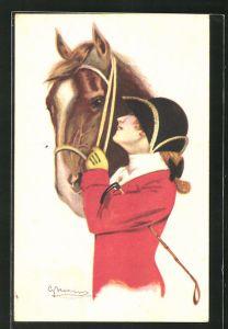 Künstler-AK Reiterin in rotem Rock mit Pferd