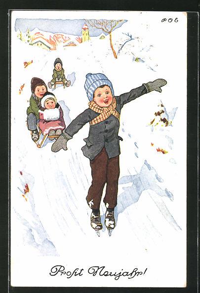 Künstler-AK P. O. Engelhard (P.O.E.): Prosit Neujahr!, Bub auf Schlittschuhen