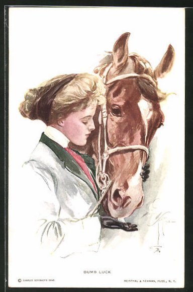 Künstler-AK Harrison Fisher: Dumb Luck, Fräulein füttert Pferd