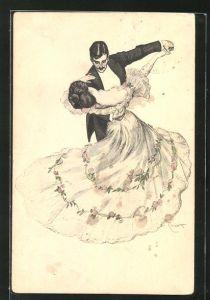 Künstler-AK Ferdinand von Reznicek: Simplicissimus, tanzendes Paar, Ball