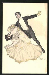 Künstler-AK Ferdinand von Reznicek: Simplicissimus, elegantes Tanzpaar, Ball
