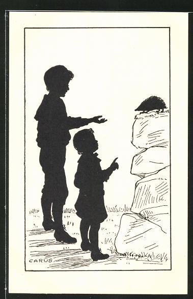 Künstler-AK Carus: Schattenbild Kinder mit einem Igel