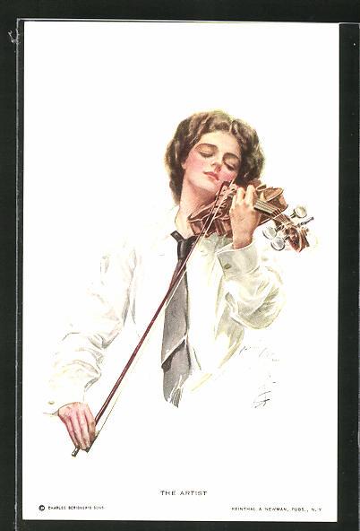 Künstler-AK Harrison Fisher: The Artist, junge Frau mit Geige